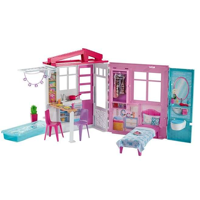 Barbie Doll And House Portable 1 Story Playset With Pool.