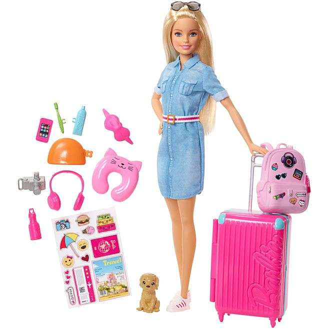 Barbie Doll Travel Set With Luggage Puppy And Other Accessories.